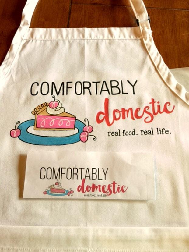Comfortable Domestic Custom hand painted food blogger apron