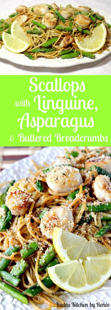 Scallops with Linguine, Asparagus & Buttered Breadcrumbs