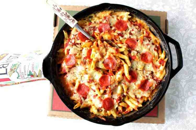 Pepperoni Pizza Macaroni & Cheese Skillet Dinner