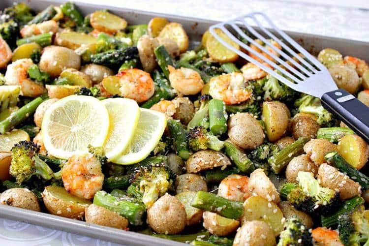 Sheet Pan Lemon Ginger Shrimp Supper - Weekly Meal Planning