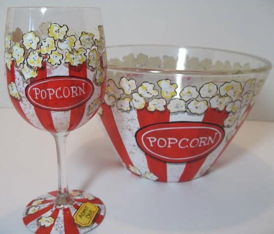 Hand Painted Popcorn Bowl and Wine Glass