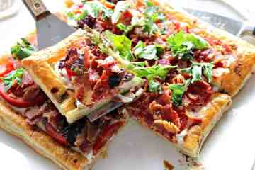 Square Slice of BLT Puff Pastry Tart