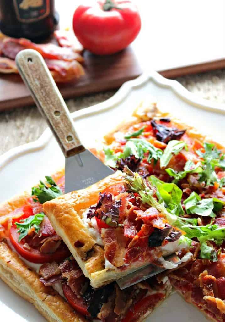 Vertical Image of BLT Puff Pastry Tart - Kudos Kitchen by Renee
