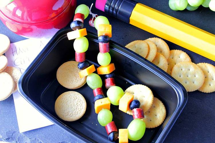 Healthy Edible Necklace with Grapes Sausage Cheese and Blueberries - Kudos Kitchen by Renee
