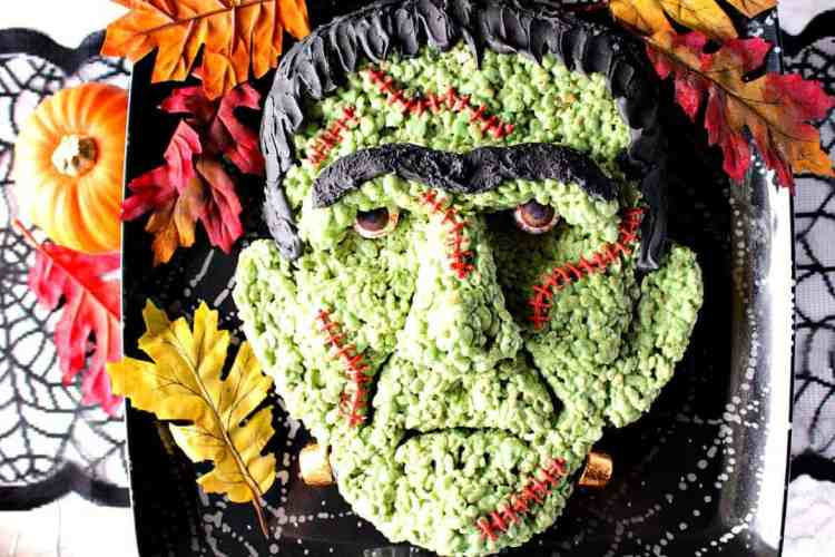 Frankenstein Rice Cereal Halloween Treat with Royal Icing Hair and Gumball Eyes