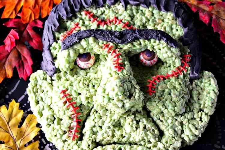 Freaky Frankenstein Rice Cereal Halloween Treat   Kudos Kitchen by Renee