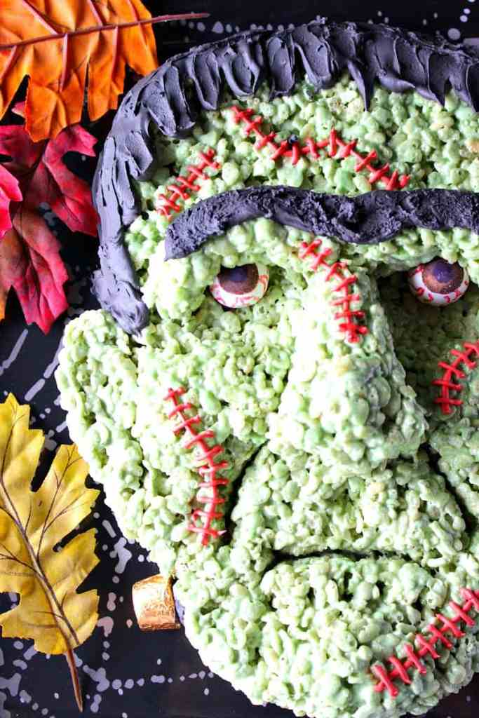 Frankenstein Rice Cereal Halloween Treat with Gumball Eyes   Kudos Kitchen by Renee