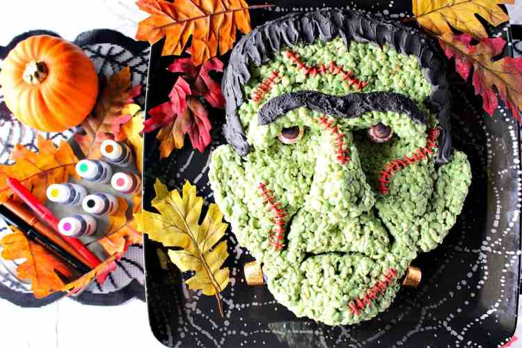 Frankenstein Rice Cereal Treat with Marshmallows, Gumballs, and Royal Icing - Kudos Kitchen by Renee