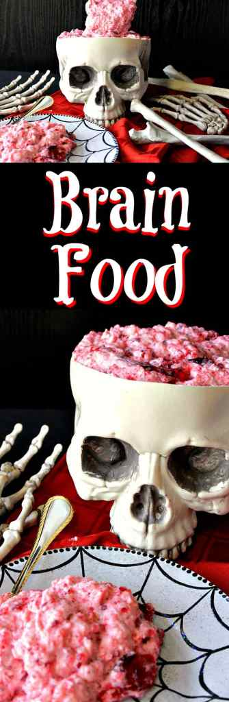 Gory Brain Food Jello Salad with Pineapple and Cherries - Kudos Kitchen by Renee