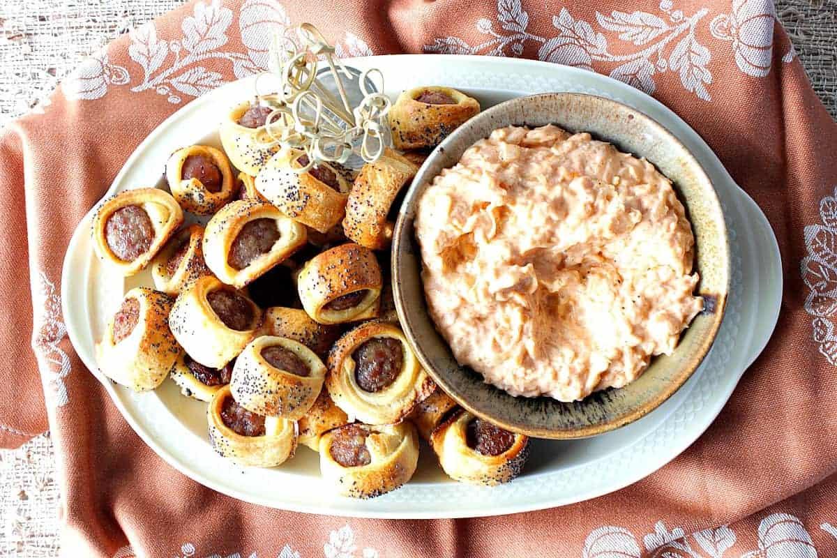 Easy Oktoberfest Crescent Wrapped Bratwurst Bites with Sauerkraut Dip