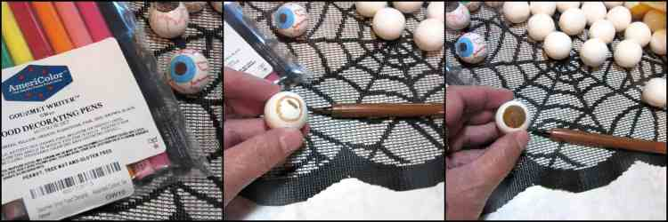 How to make gumball eyeballs for Frankenstein Rice Cereal Halloween Treat.