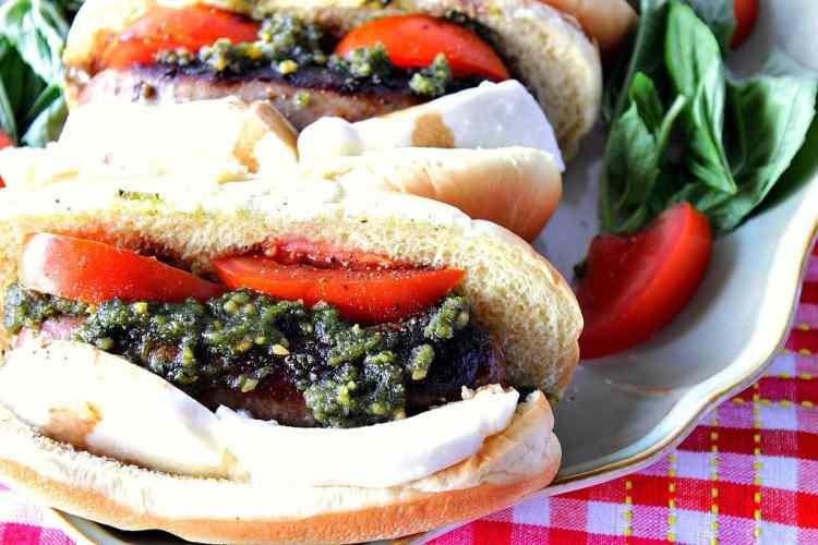 Italian Sausage Caprese Sandwich with Basil, Tomato and Mozzarella - Kudos Kitchen by Renee