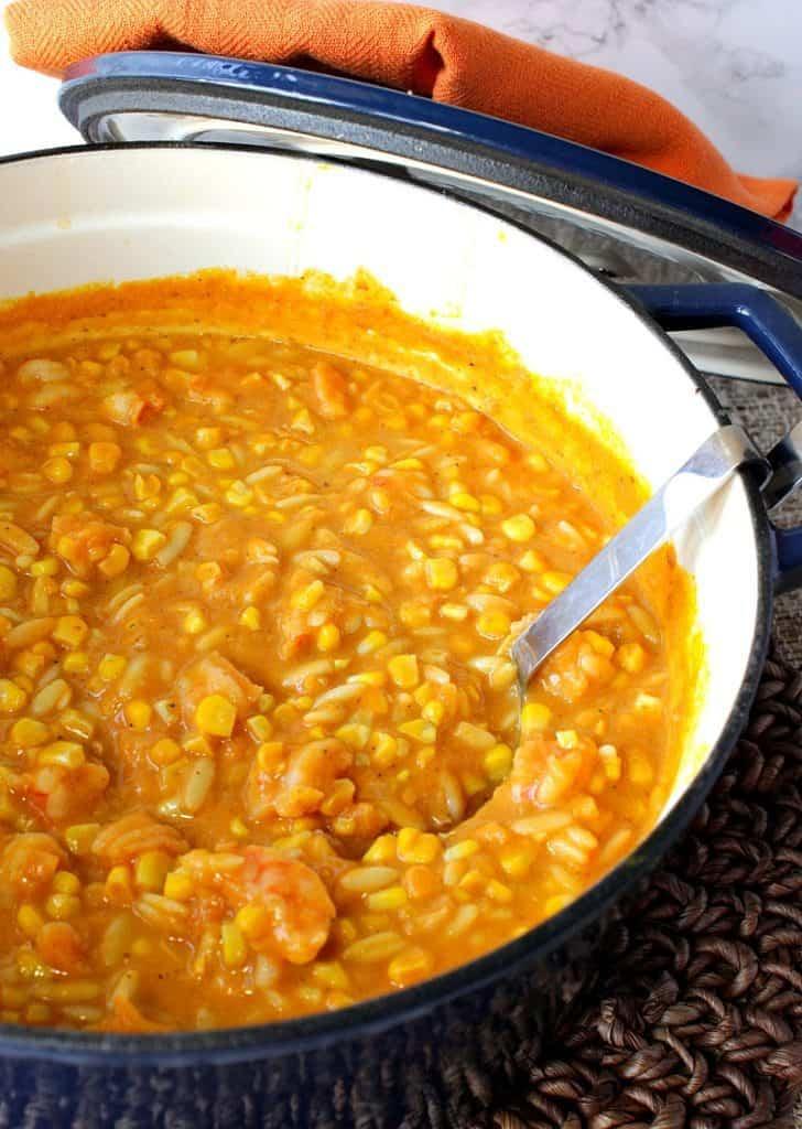 Creamy Pumpkin Corn Chowder with Shrimp | Kudos Kitchen by Renee