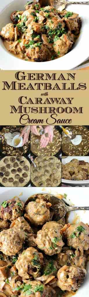Hearty German Meatballs with Caraway Mushroom Cream Sauce | Kudos Kitchen by Renee