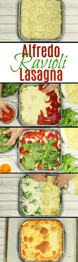Easy Alfredo Ravioli Lasagna with spinach and roasted red peppers. - Kudos Kitchen by Renee