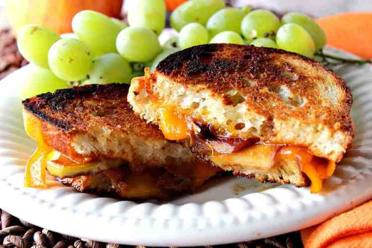 Grilled Cheddar Cheese Sandwich with Caramelized Apples | Kudos Kitchen by Renee