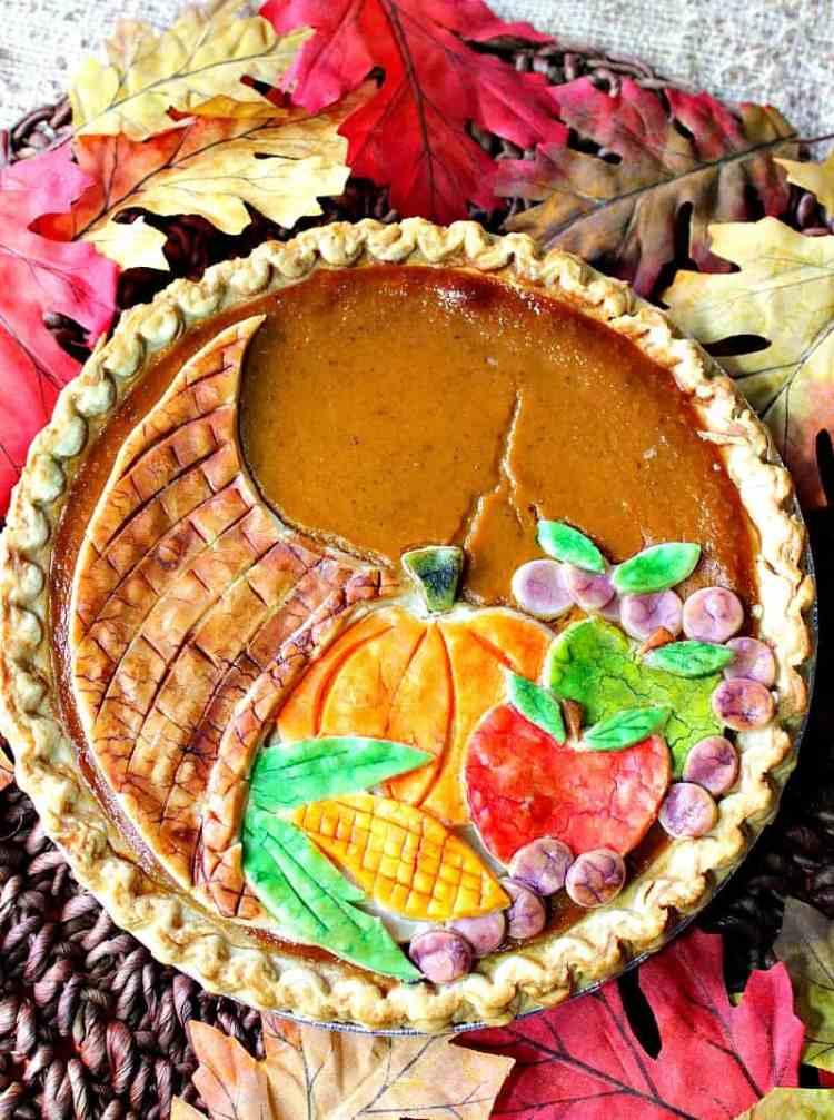 Festive Cornucopia Crusted Pumpkin Pie   Kudos Kitchen by Renee