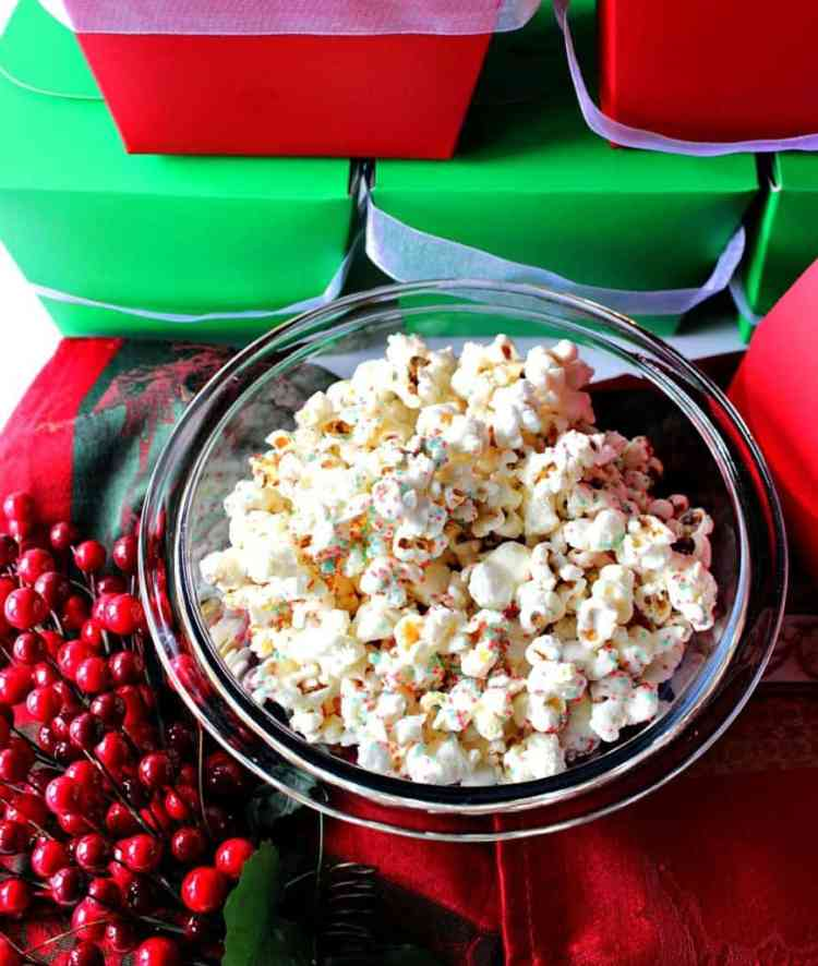 Easy Delicious White Chocolate Christmas Popcorn | Kudos Kitchen by Renee
