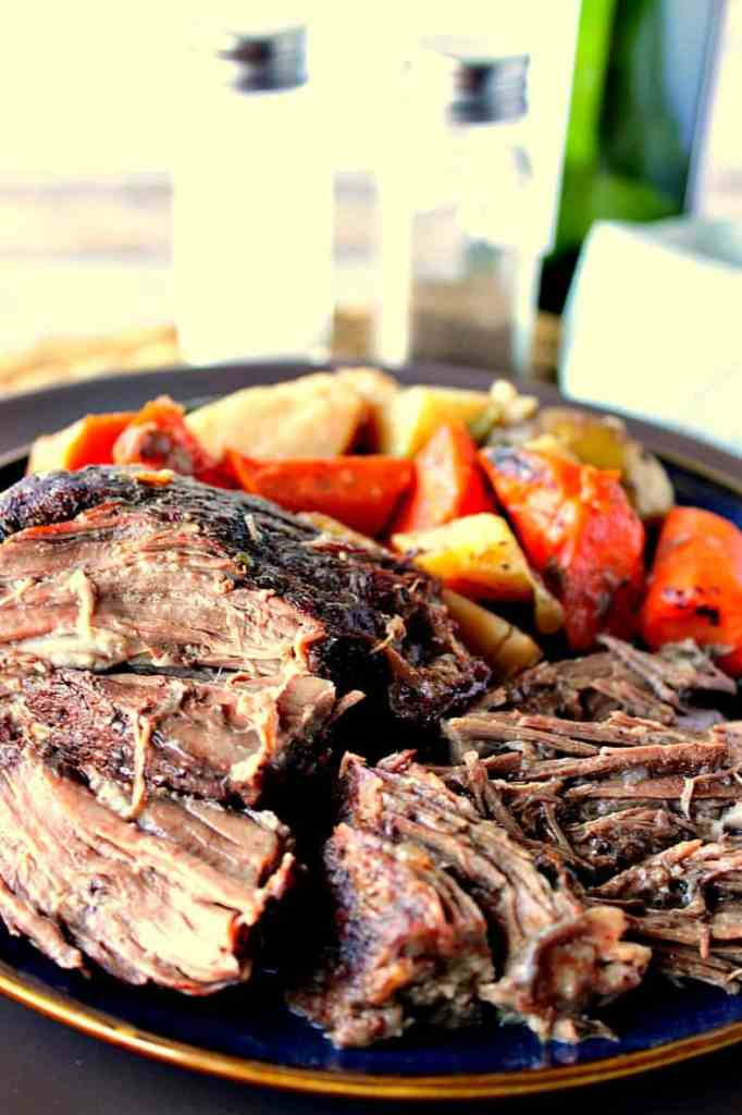Best Ever Dutch Oven Braised Pot Roast Dinner with Potatoes & Carrots | Kudos Kitchen by Renee