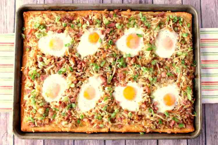 Hash Brown Breakfast Pizza with Eggs and Cheese - www.kudoskitchenbyrenee.com