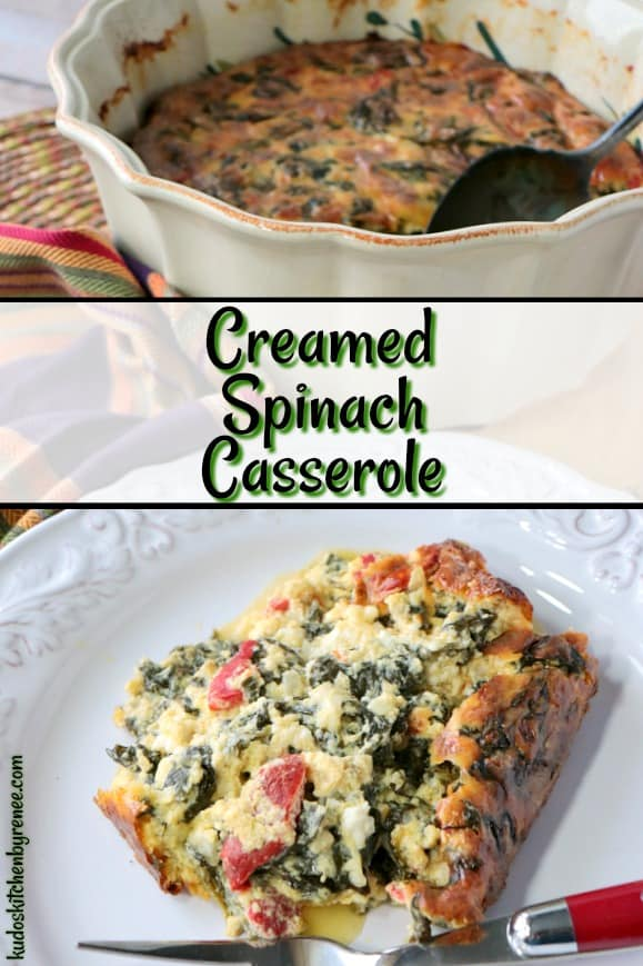Keto Creamed Spinach Casserole with roasted red pepper and heavy cream. - www.kudoskitchenbyreneecom