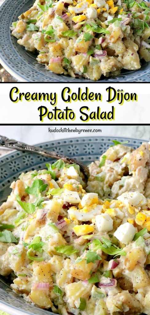 This Creamy Golden Dijon Potato Salad will be the first thing to disappear from the picnic table this summer. It's cool, creamy and refreshing with just the right amount of tang from the dijon, and the right amount of crunch to balance all that creaminess. It's got it all! - kudoskitchenbyrenee.com