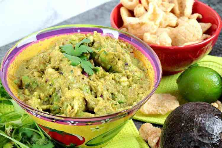 Keto Guacamole withPork Rind Dippers - kudoskitchenbyrenee.com