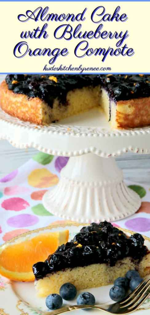 "This Golden Almond Cake with Fresh Blueberry Orange Compote recipe won a full two thumbs up from my husband. He said it tasted like ""real cake."" LOL! Now there's a compliment for you! - kudoskitchenbyrenee.com"
