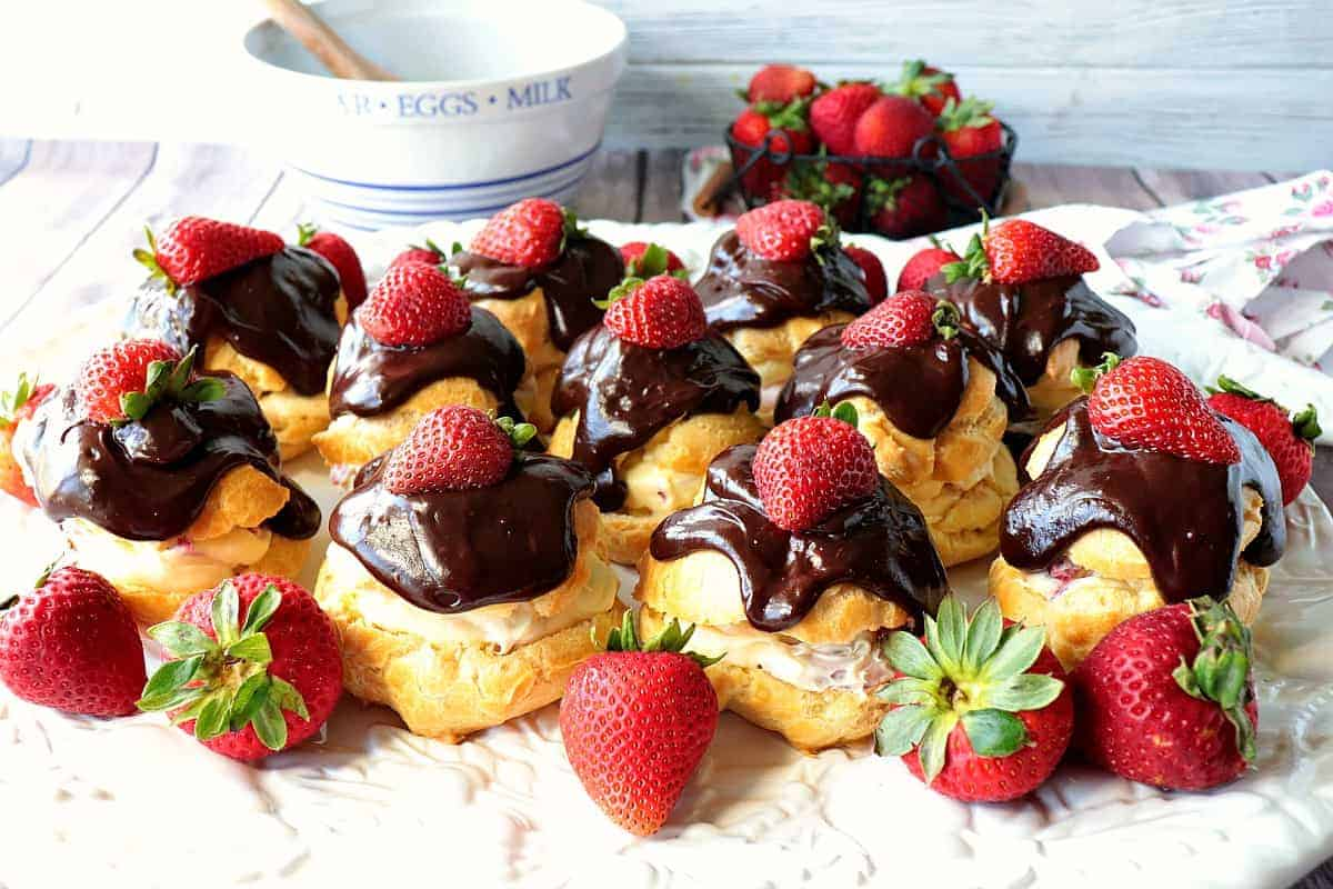 Chocolate Covered Strawberry Filled Eclairs - kudoskitchenbyrenee.com