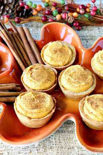 Pumpkin Cheesecake Tartlets with Cookie Crust
