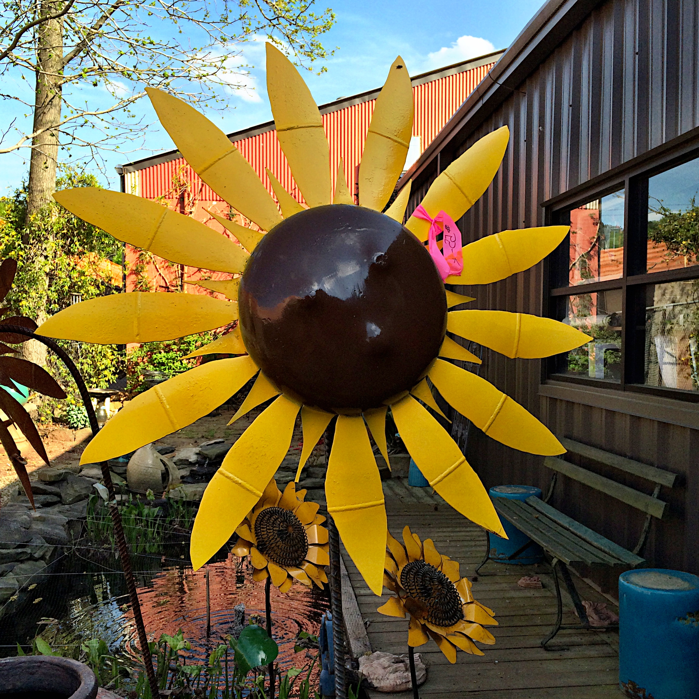 Upcycled Metal Sunflower Yard Art - Kudzu Antiques on Backyard Metal Art id=26331