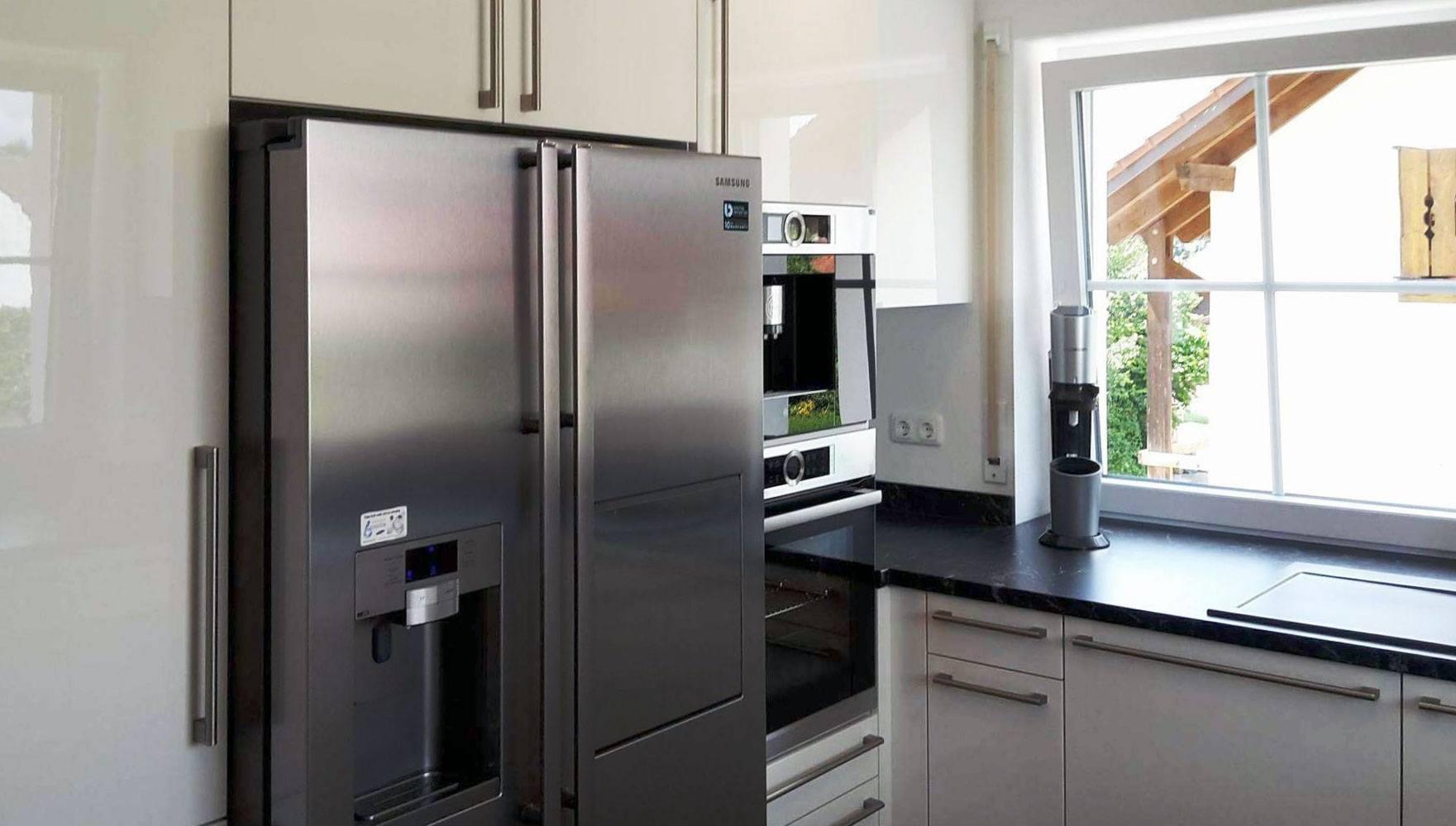 Side By Side Kühlschrank Technische Zeichnung : Küche mit integriertem side by side in hausen küchen blank das