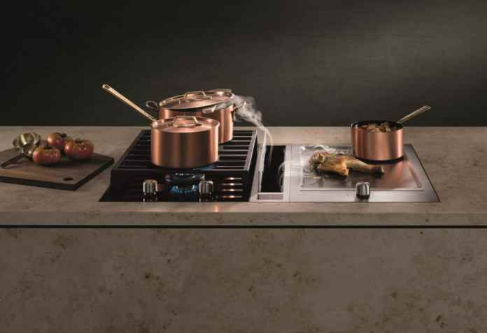 The individual modules from BORA can be used to assemble particularly unusual cooking islands - such as gas and teppan yaki including cooktop extractor. (Photo: BORA Classic 2.0)