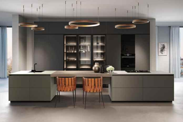 From the Greenline series from Rotpunkt: the handle-less kitchen ZEROX HPL XT with a floating worktop. (Photo: Rotpunkt Kitchens)
