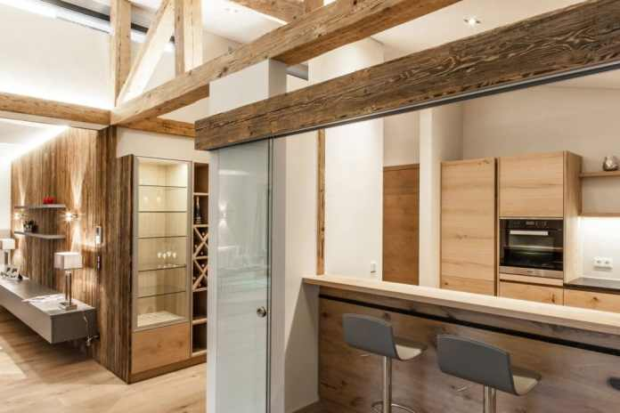 The wooden beams, which look like a half-timbered structure in the brand new building, are original from an old farmhouse.  (Photo: The Kitchen Club)
