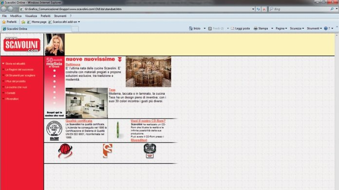 This homepage was the latest craze in 1996: Scavolini was one of the first kitchen manufacturers to venture into the then unknown Internet.  (Photo: Scavolini)