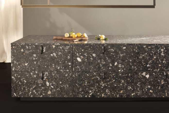 Poggenpohl Collection 2021: Terrazzo kitchen block, made of Nero Portoro by Poggenpohl