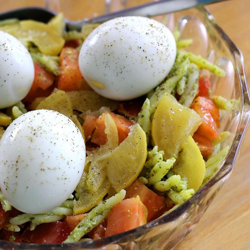 Salade de pâtes au pesto et citrons confits