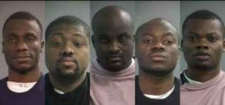 (L-R) Emmanuel Kazeem, Oluwaseunara Osanyinbi, Oluwamuyiwa Olawoye, Lateef Animawun, Oluwatobi Dehinbo, 2015 (Jackson County Sheriff's Office)