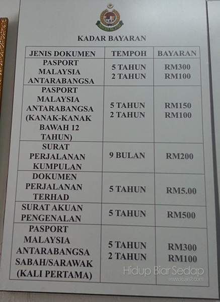 kadar bayaran buat passport malaysia