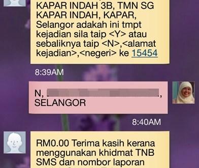 Cara SMS Aduan TNB Careline 15454
