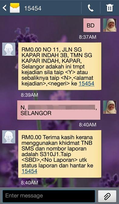 cara sms aduan tnb