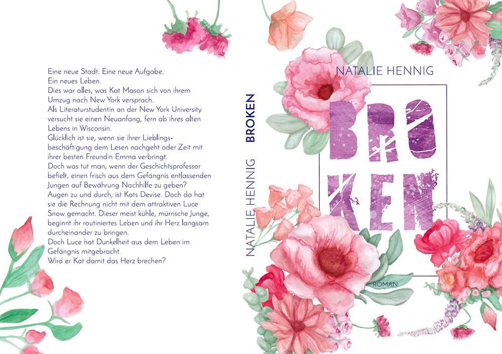 Kuki Design Broken Buchcover handgemalte Blumen Aquarell Pink