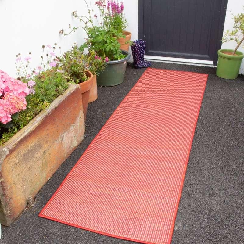 red mottled indoor outdoor runner rug patio