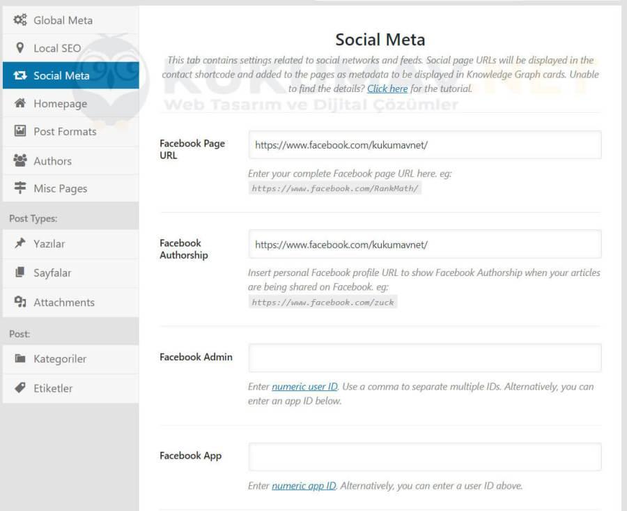 Rank Math Sosyal Medya Ayarları