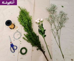 Materiales para la Vincha de Flores