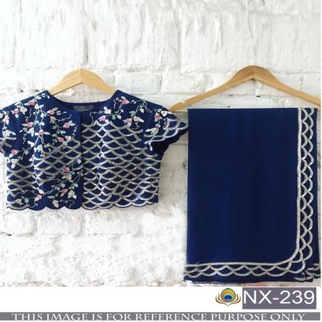 Srk-Navy-Blue-Color-Georgette-Plain-Saree