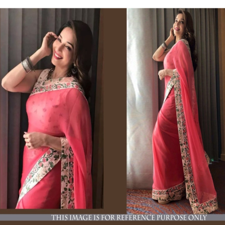 Srk-Pink-Color-Georgette-Plain-Saree