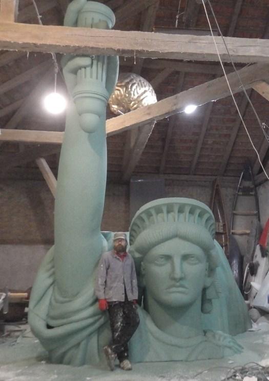 Socha svobody socha kotva kulisy polystyren film, statuen produktion, polystyrene, Bühnenbildner, styropor