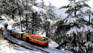 Toy Train in Snow